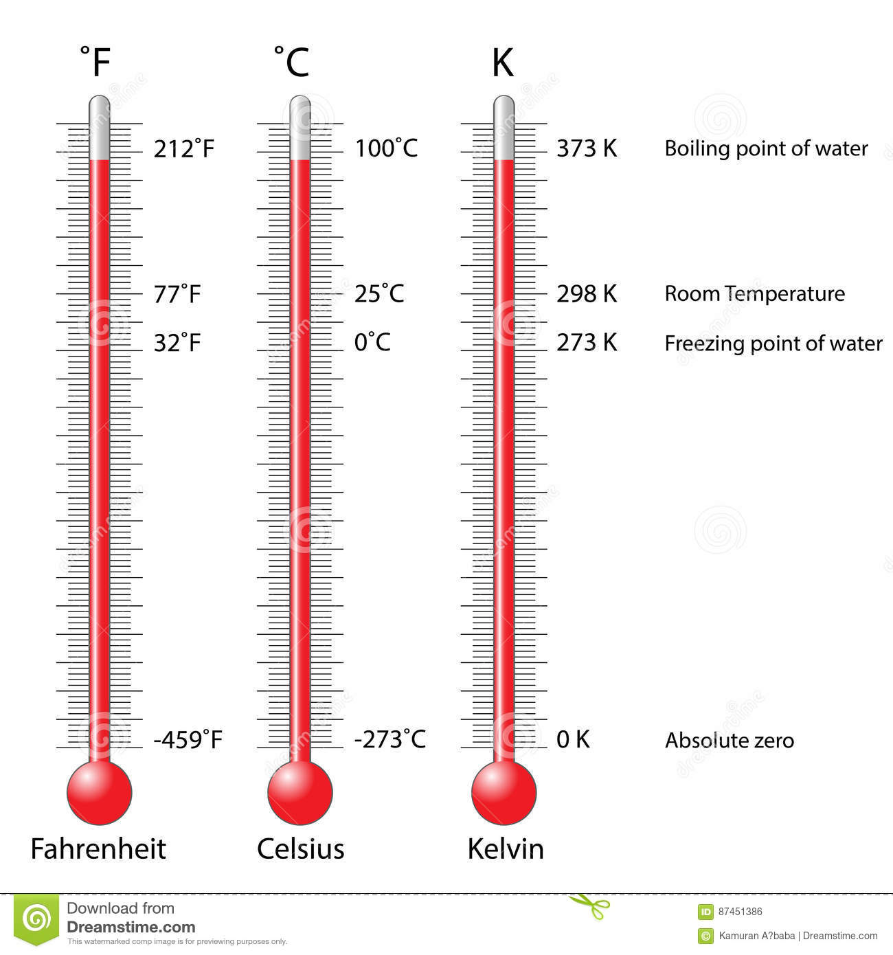 Celsius Fahrenheit And Kelvin Thermometers Stock Vector