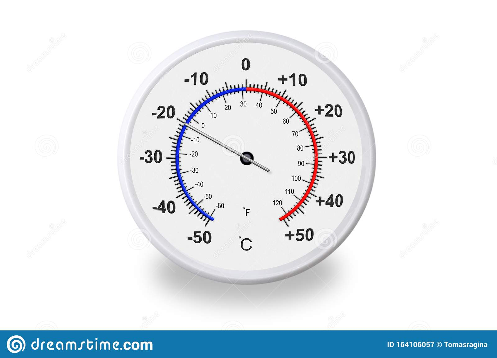 Celsius And Fahrenheit Scales Thermometer With Shadow On