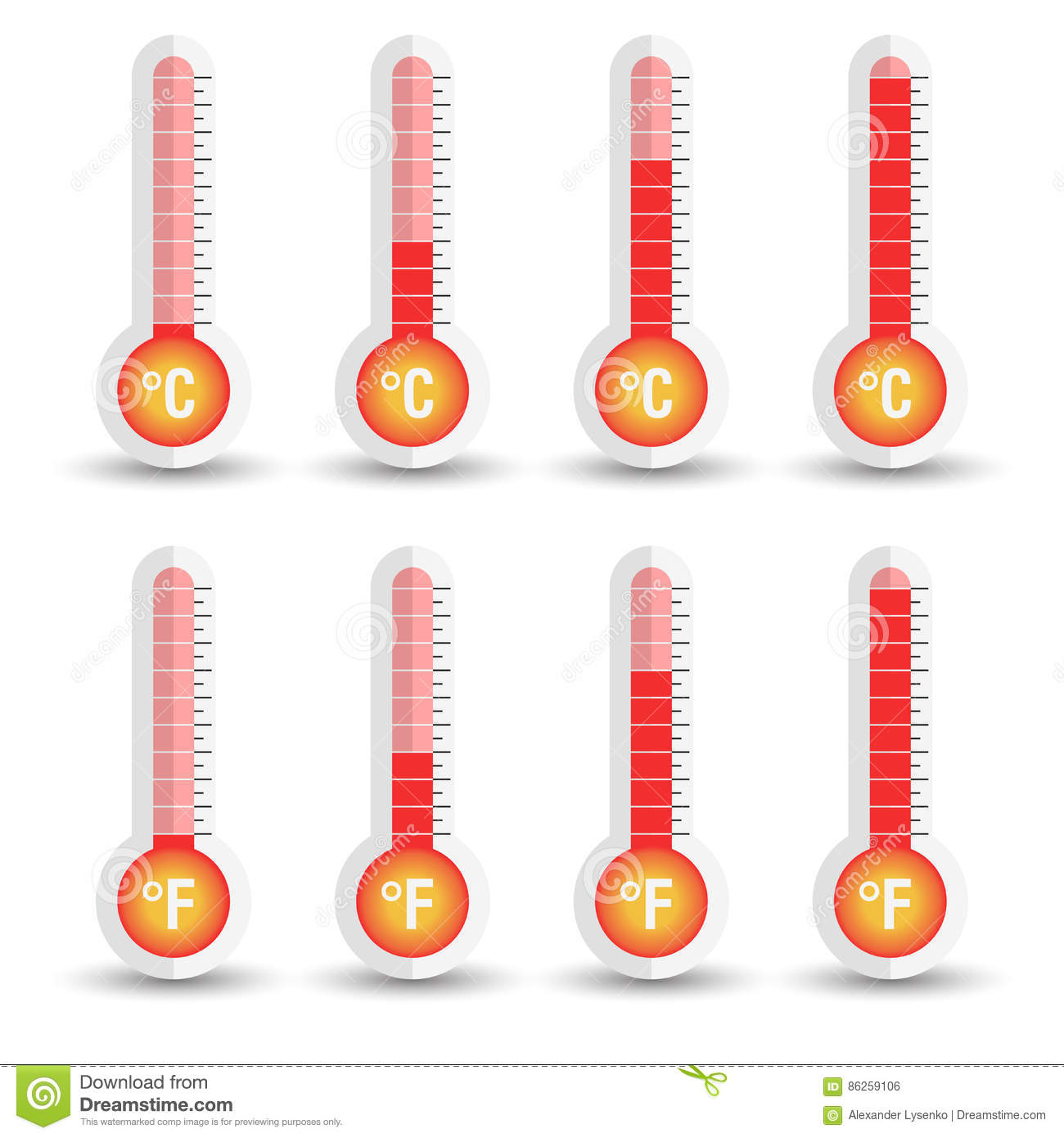 Celsius And Fahrenheit Thermometers Icon With Different