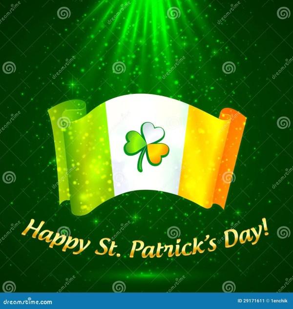 Celtic Clover Irish Flag In Magic Lights Stock