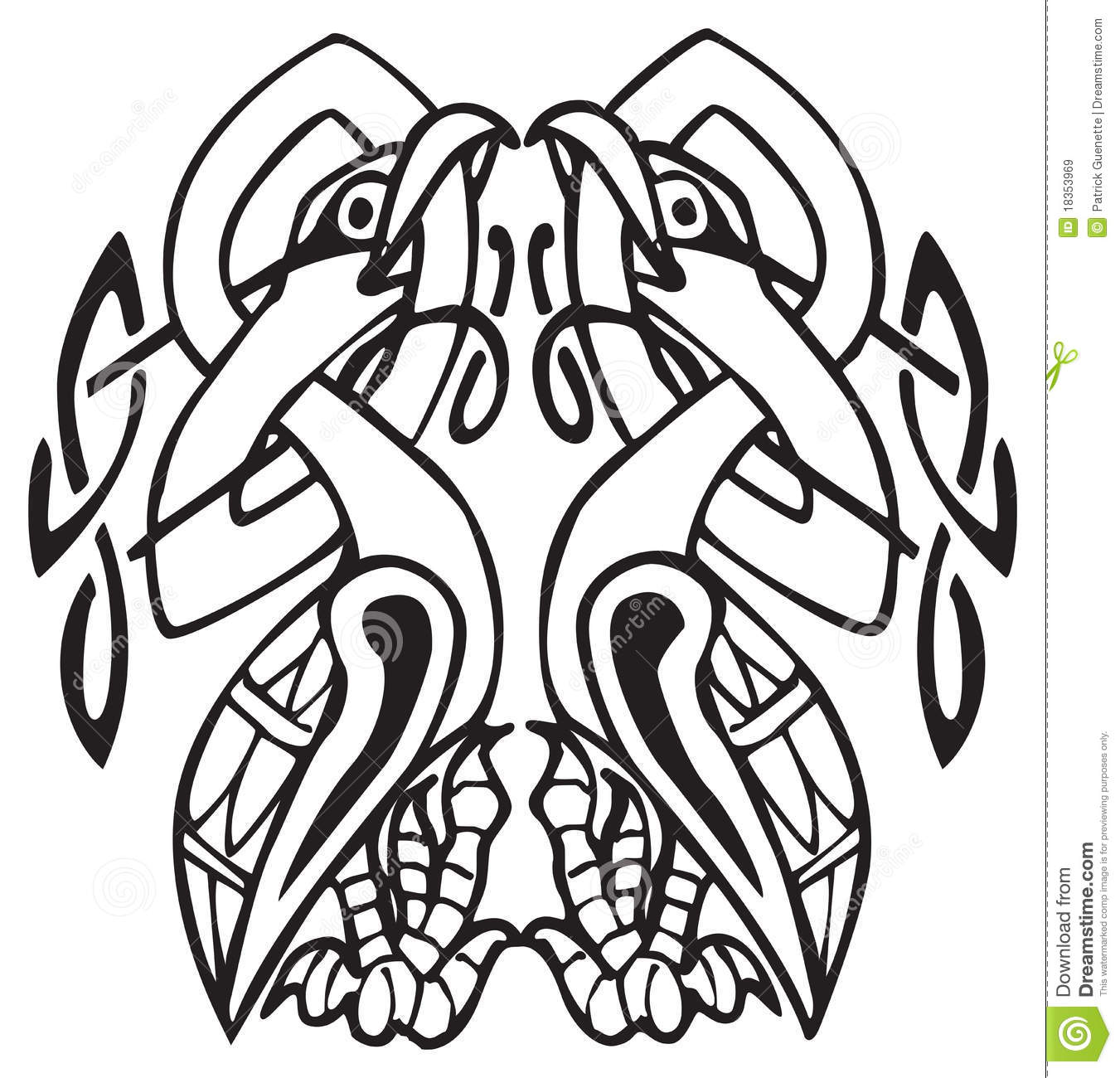 Celtic Design With Knotted Lines Of Two Birds Cartoon