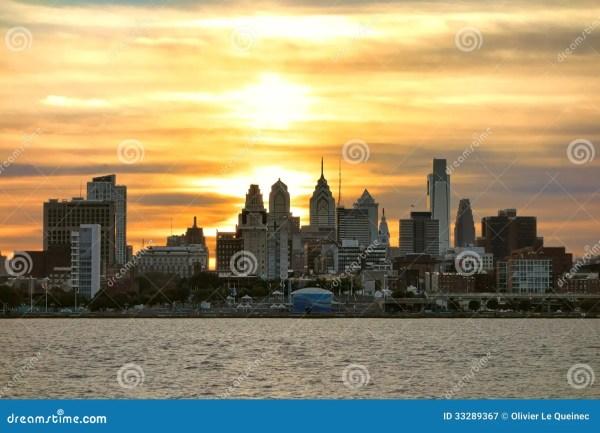 Center City Philadelphia Sunset Delaware River Royalty