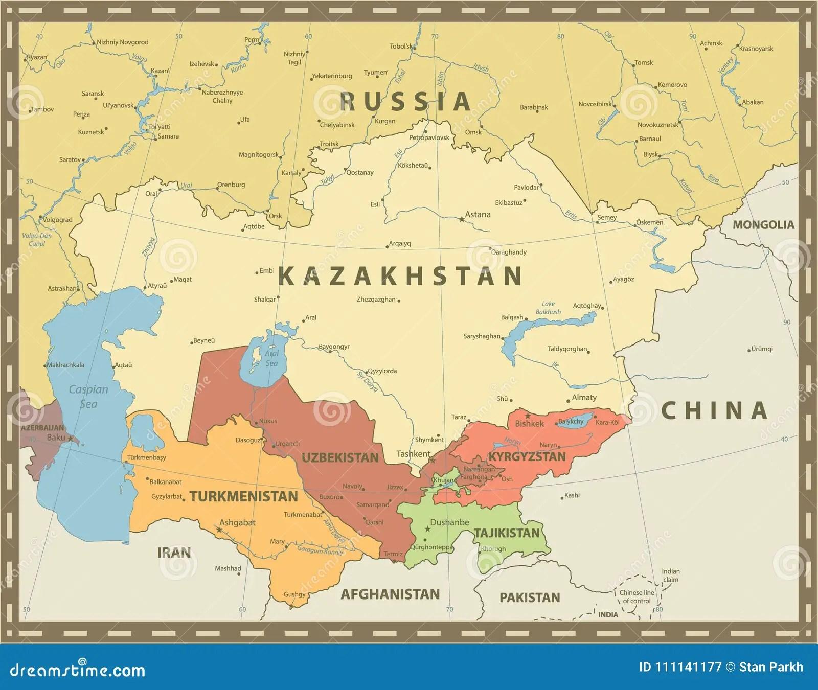 Central Asia Political Map Vintage Color Stock Vector