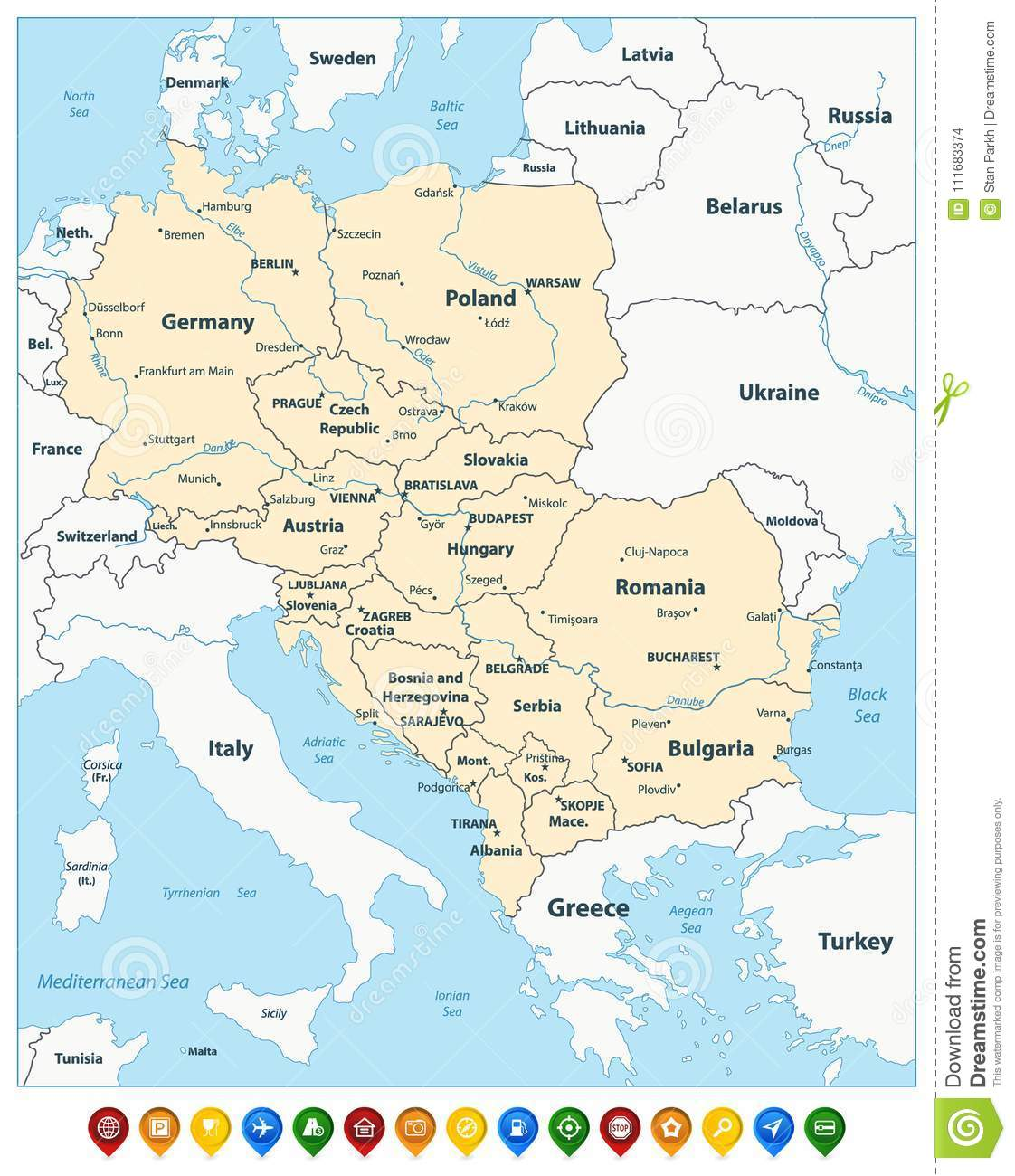 Central Europe Political Map And Colorful Map Pointers