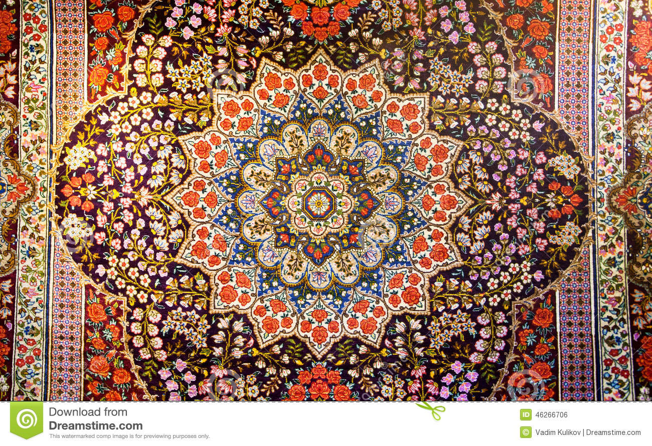 Central Fragment Of Beautiful Oriental Persian Carpet With