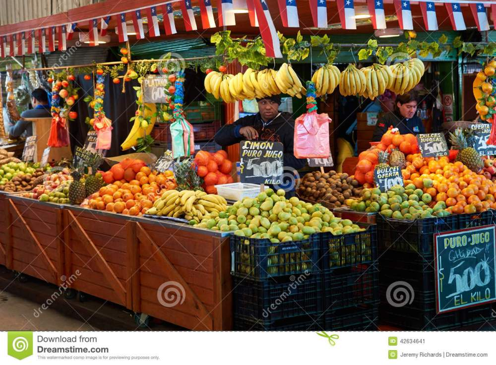 medium resolution of fresh fruit and vegetables for sale in the historic central market la vega in santiago capital of chile