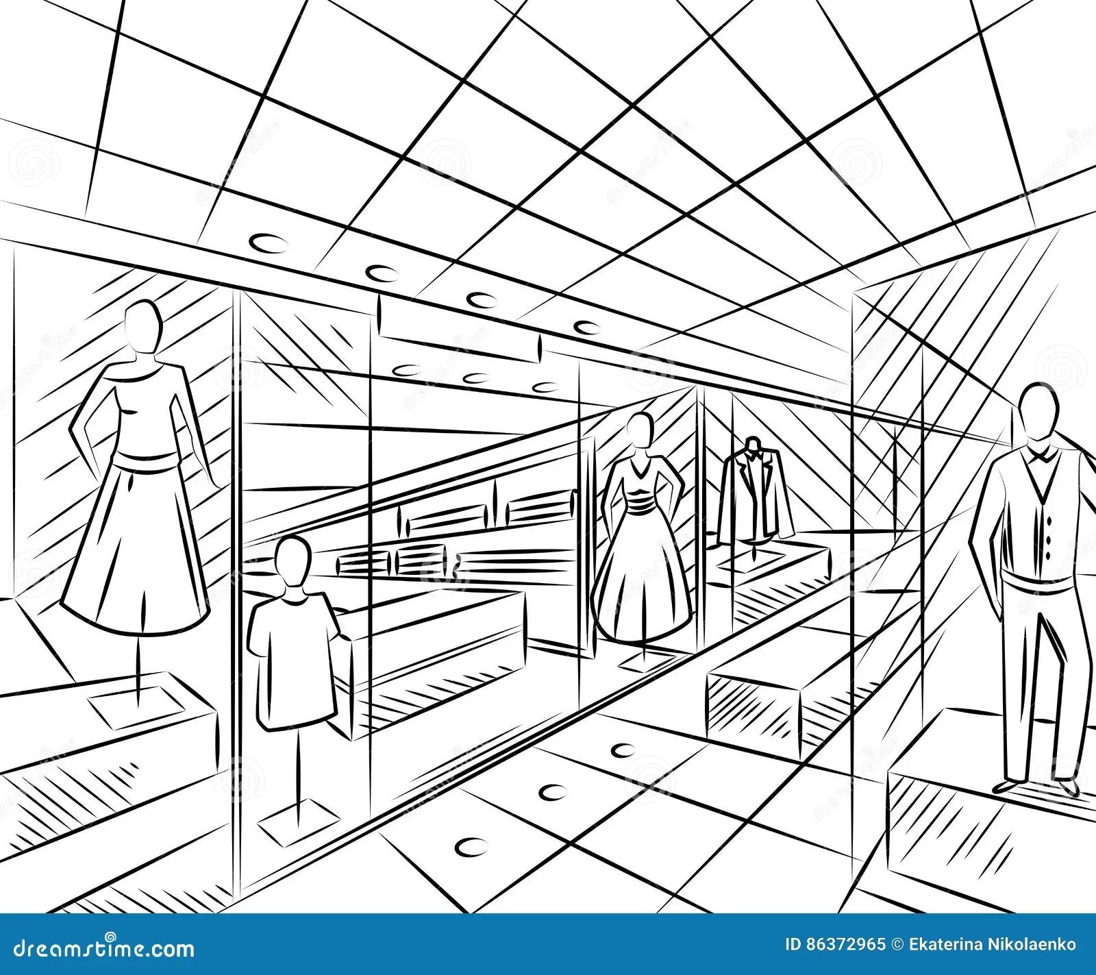 Centro Comercial Con Las Tiendas De La Moda Diseno