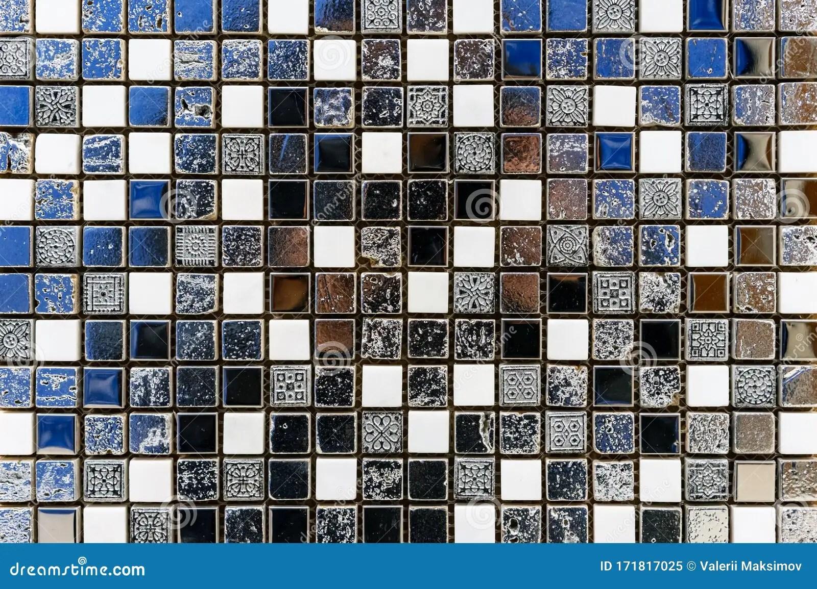 https www dreamstime com ceramic mosaic tile antique style white black blue squares image171817025