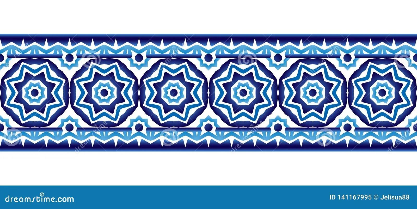 https www dreamstime com ceramic tile border pattern islamic indian arabic motifs damask seamless porcelain ethnic bohemian background abstract flower image141167995