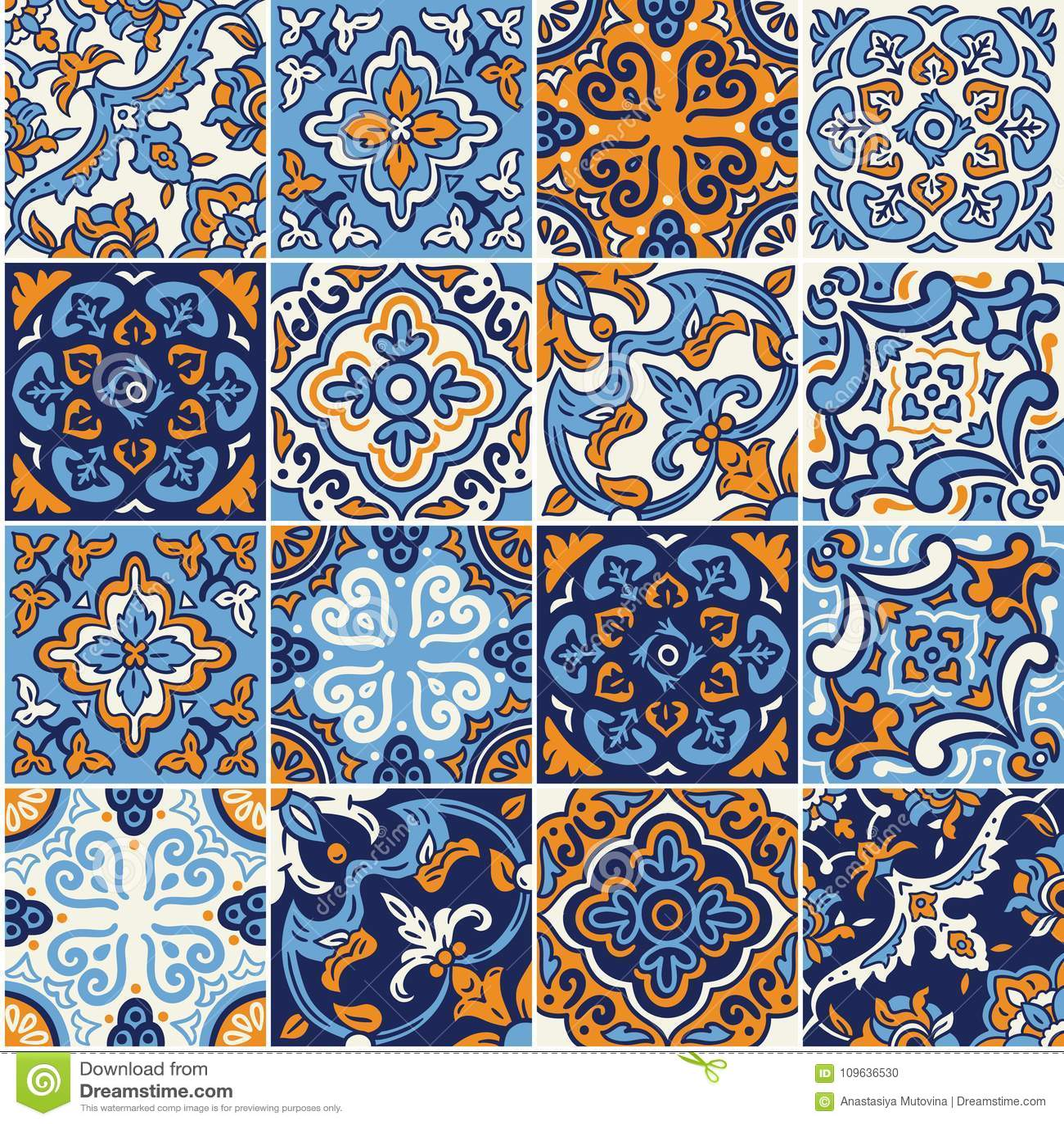 https www dreamstime com ceramic tile colorful patchwork spanish style seamless pattern blue orange colors mosaic ornaments design fashion image109636530