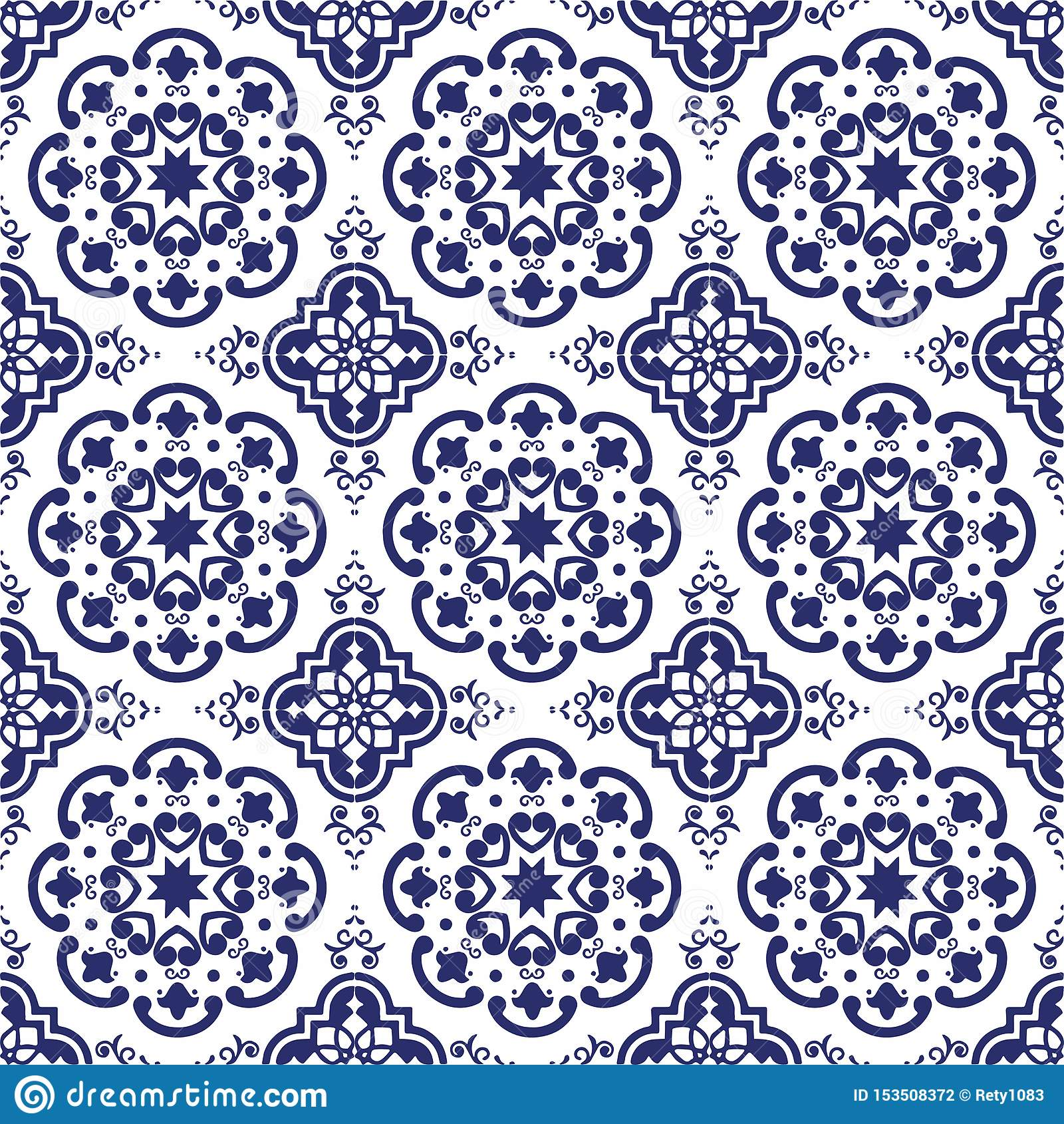 https www dreamstime com ceramic tile portuguese tiles blue white moroccan tiles blue white kitchen tiles bathroom tiles surface pattern vector image153508372