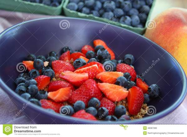 Cereal Bowl with Fruit stock photo Image of blue linen