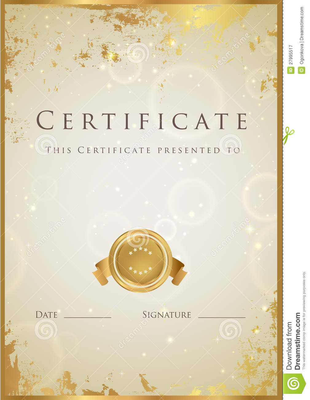 Gold Certificate / Diploma Award Template. Pattern Illustration ...
