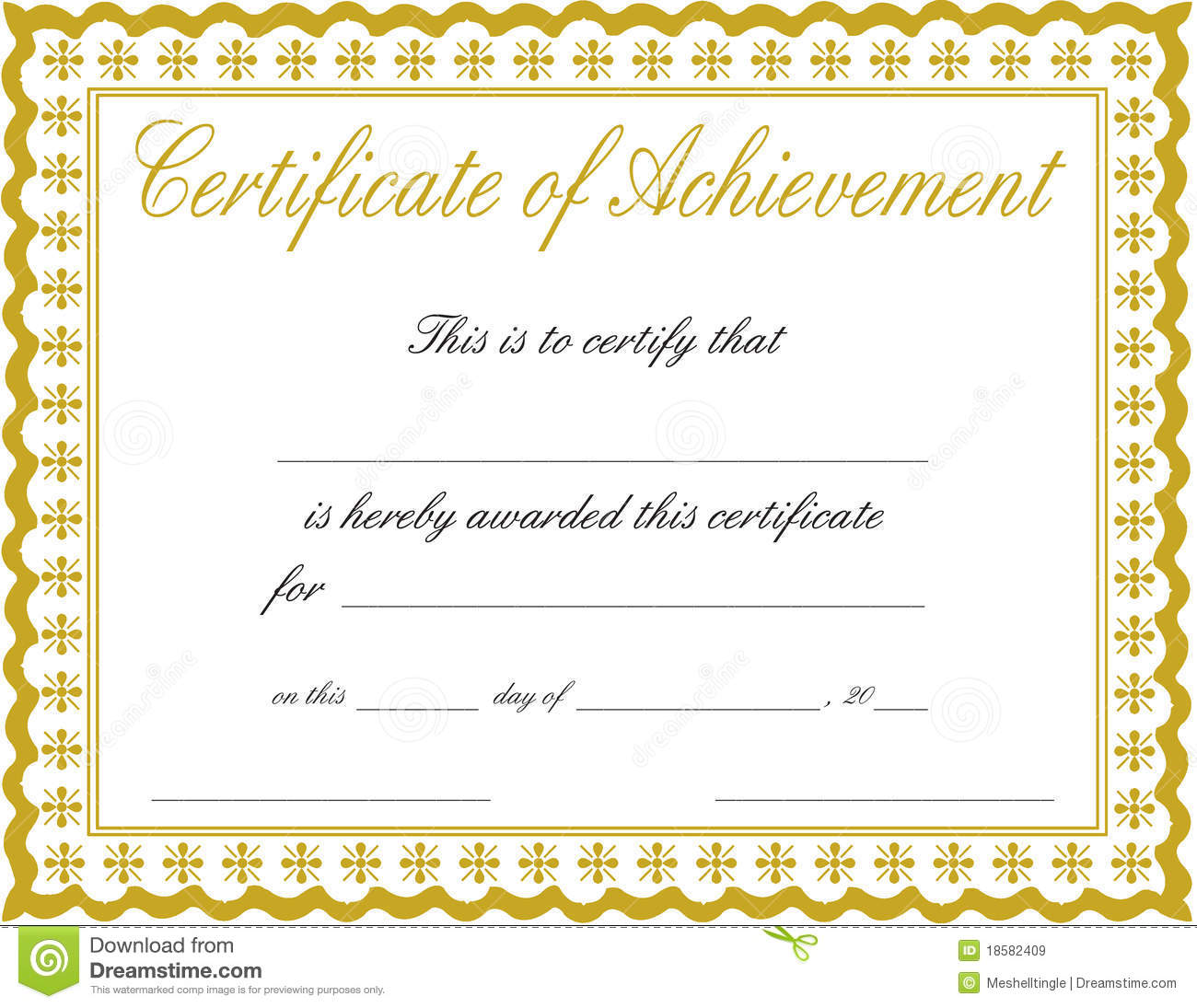Certificate of achievement stock image. Image of bronze - 18582409
