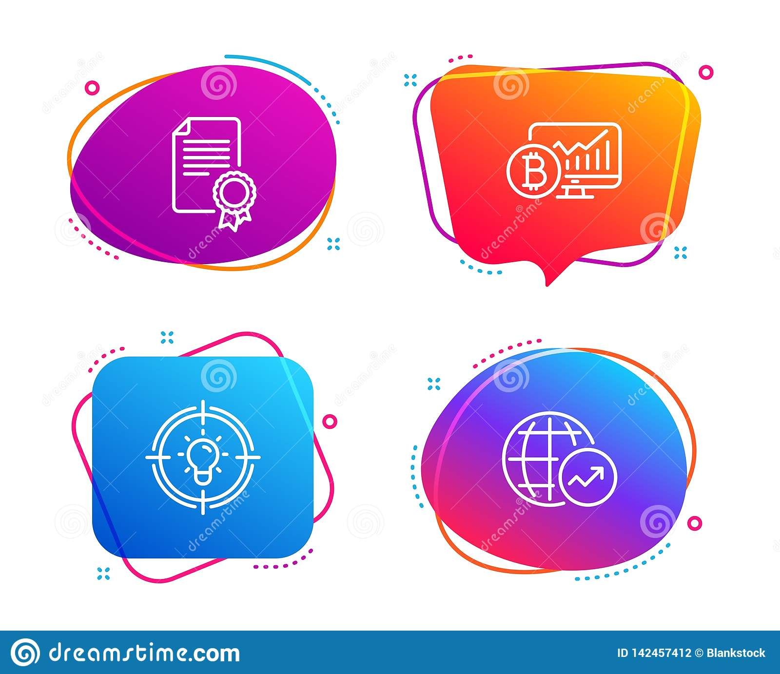 hight resolution of certificate bitcoin chart and idea icons set world statistics sign vector