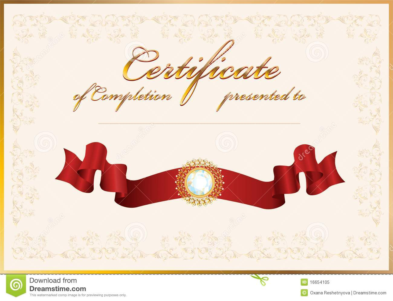 Certificate Of CompletionTemplate Stock Vector Image 16654105