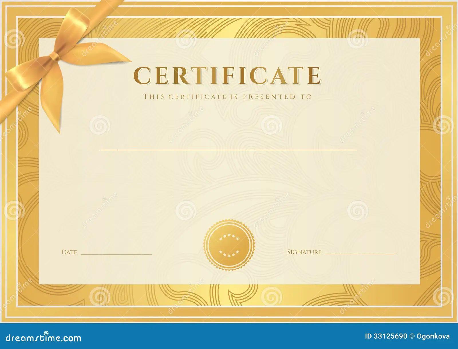 free blank certificates templates