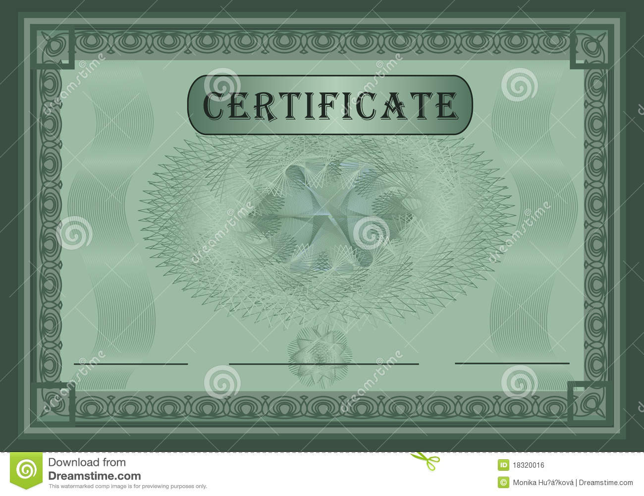 Certificate Green Stock Vector Illustration Of Security 18320016