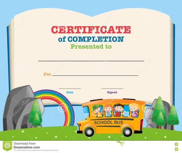 Certificate Template With Kids School Bus Stock Illustration - 81193565