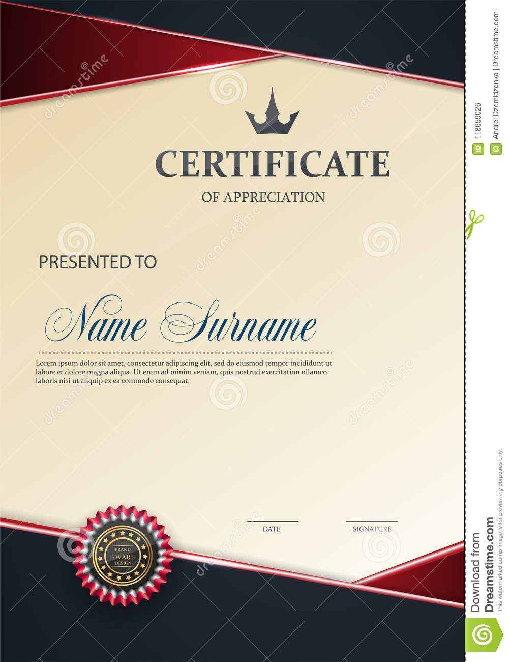 certificate template with luxury