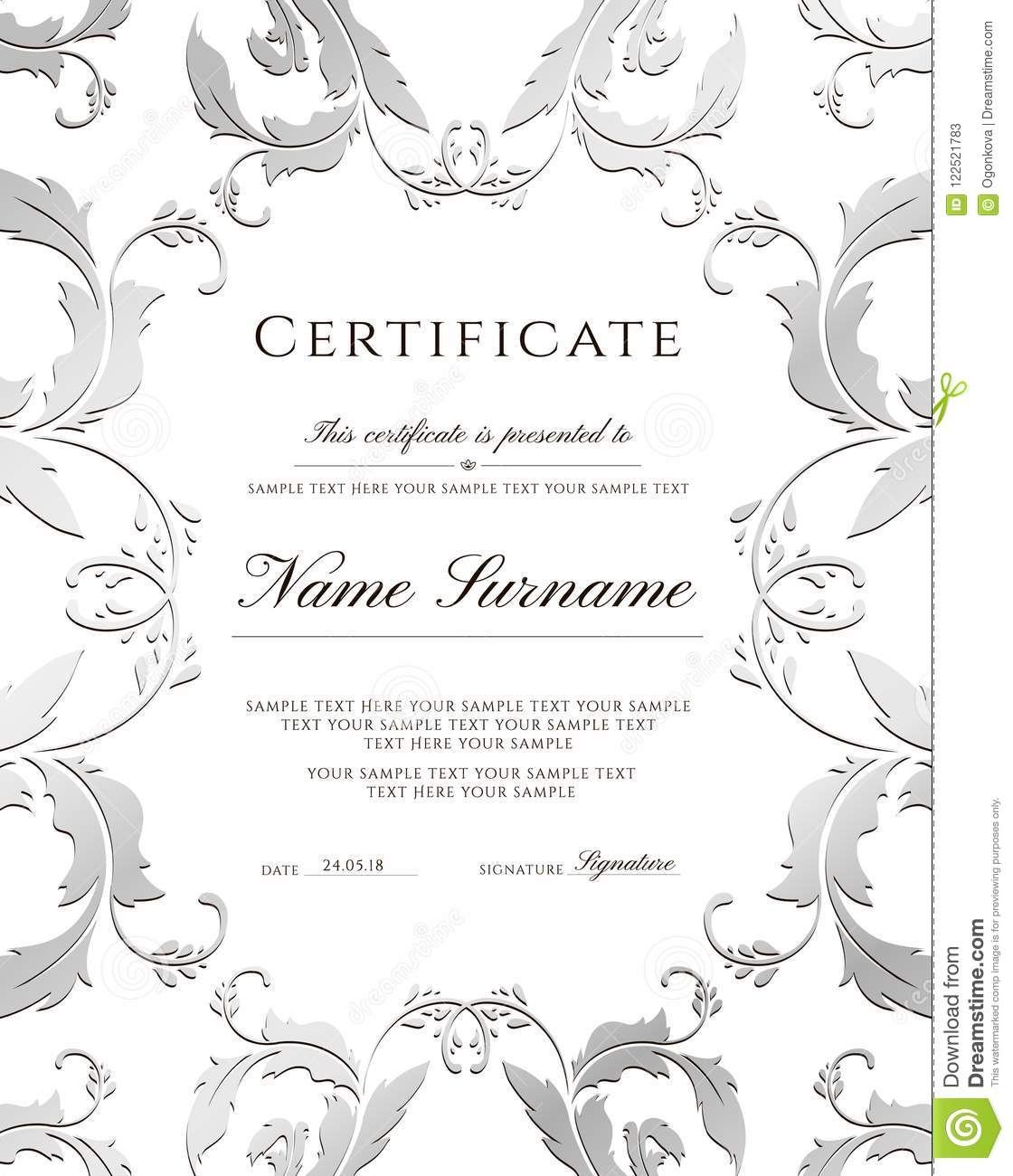 Certificate Template, Silver Border. Editable Design For