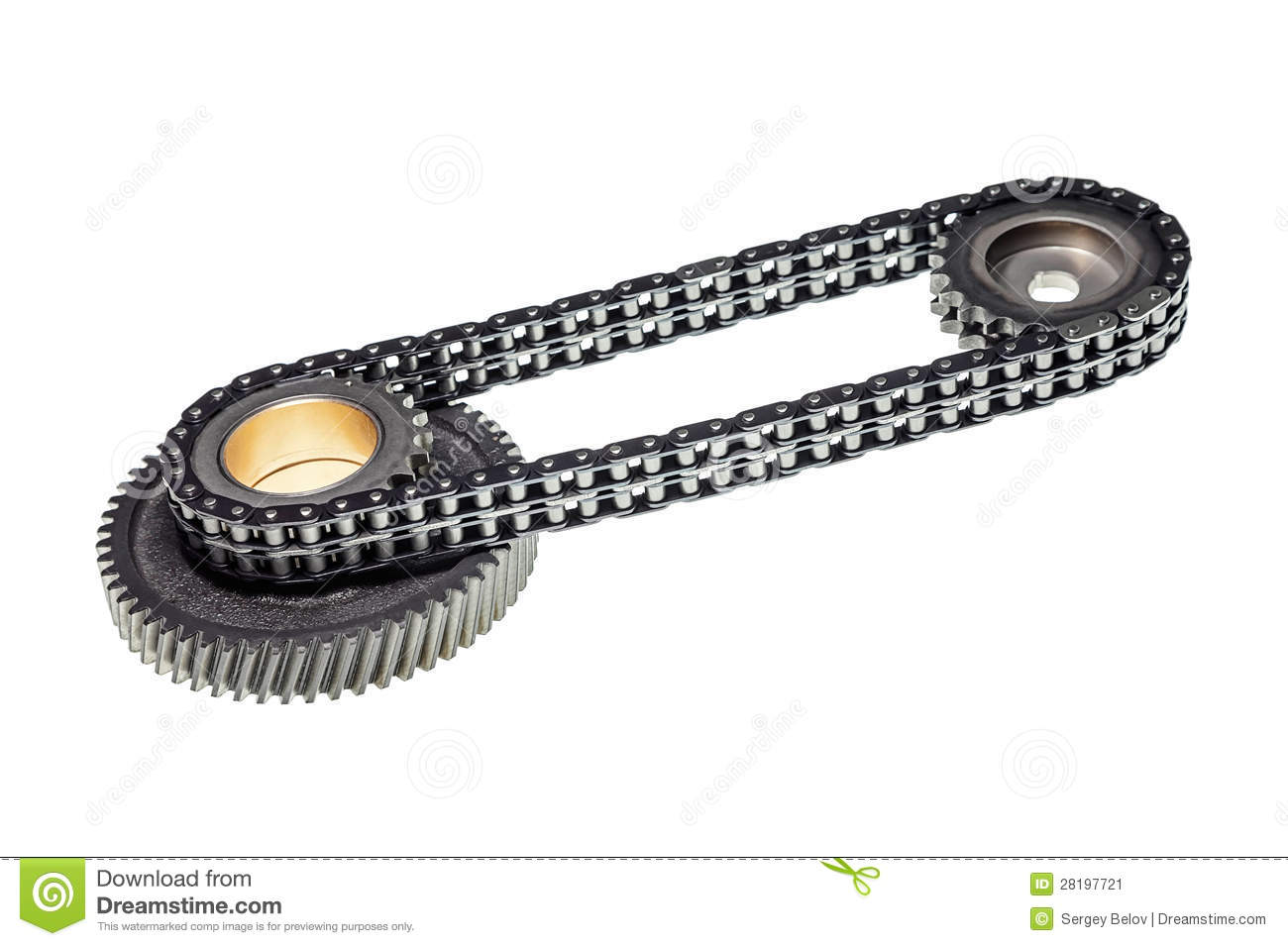 The Chain And Gears For Timing The Engine Isolated On