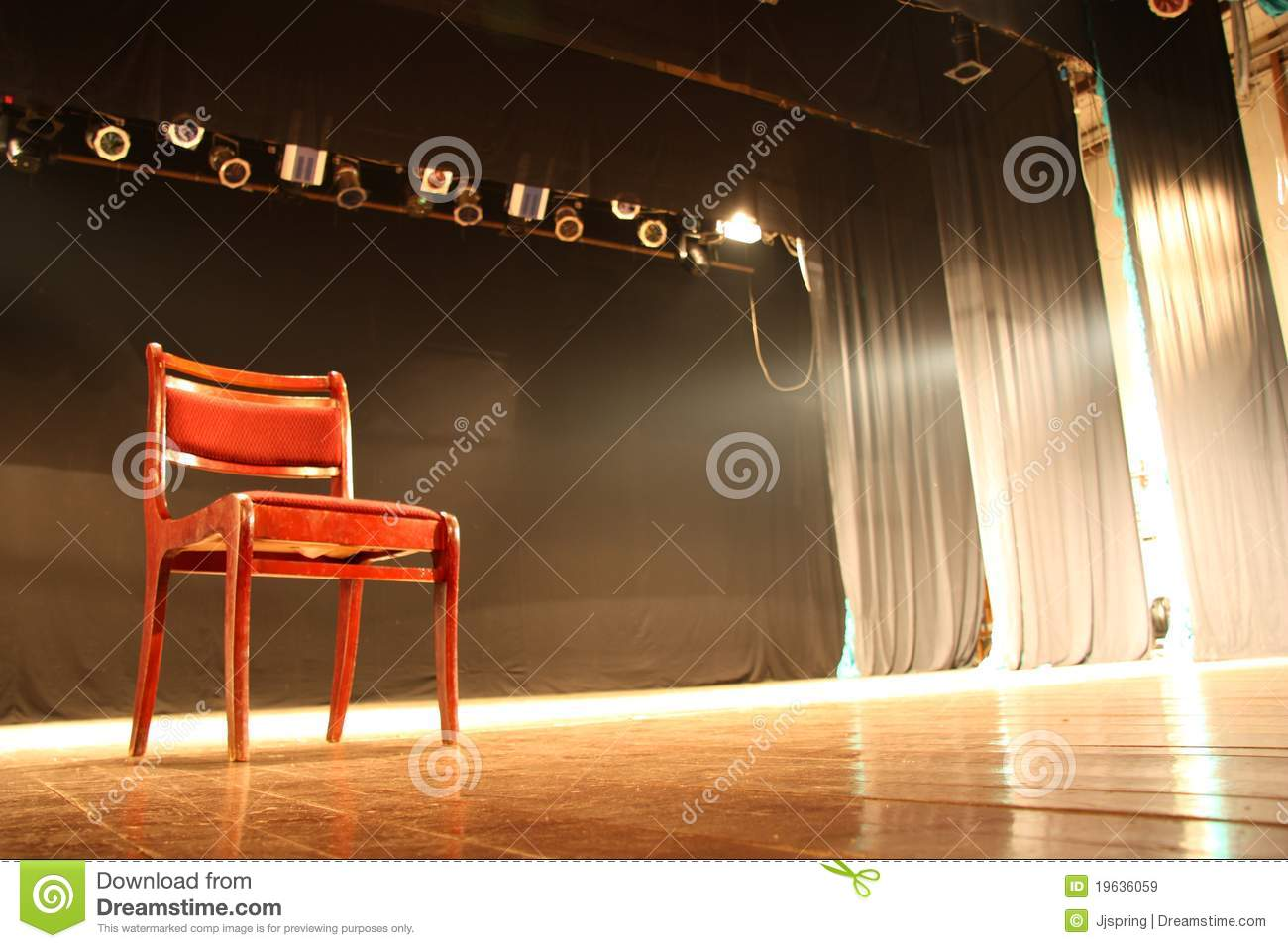 Chair On Empty Theatre Stage Royalty Free Stock Images
