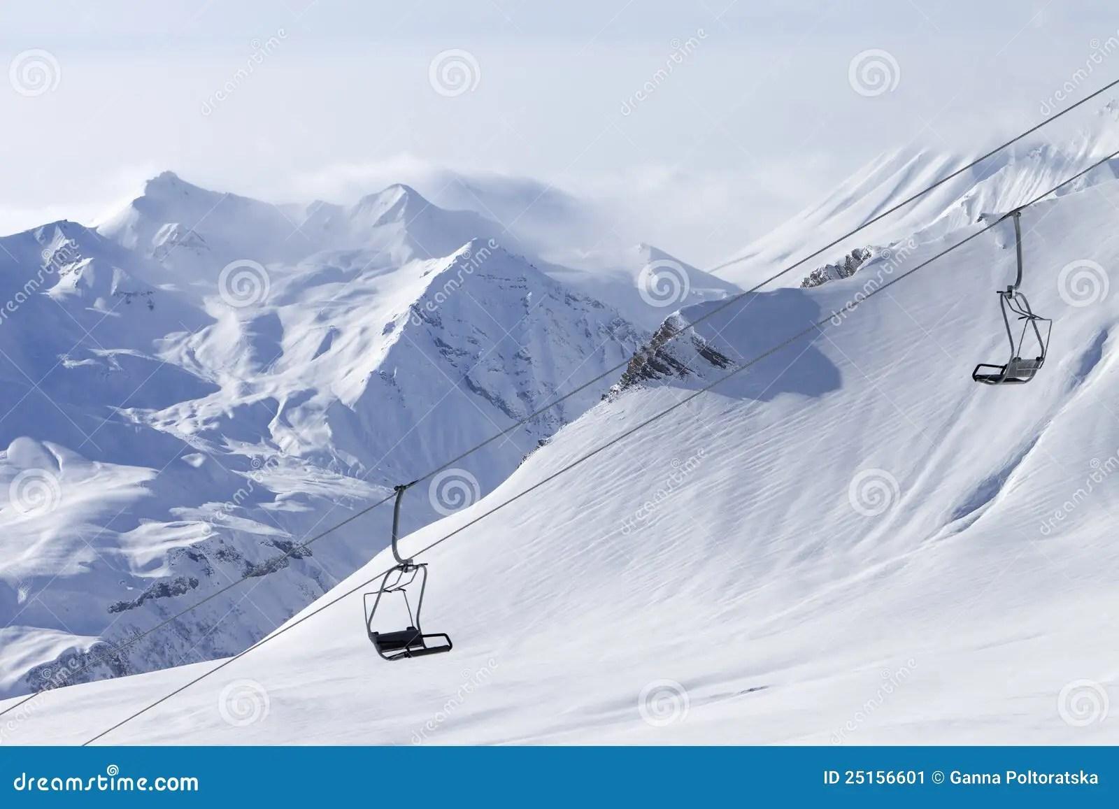 ski chair lift recliners at resort stock image 25156601