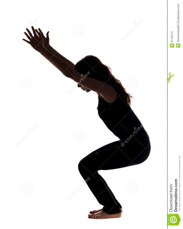 Chair Pose In Yoga Silhouette Royalty Free Stock