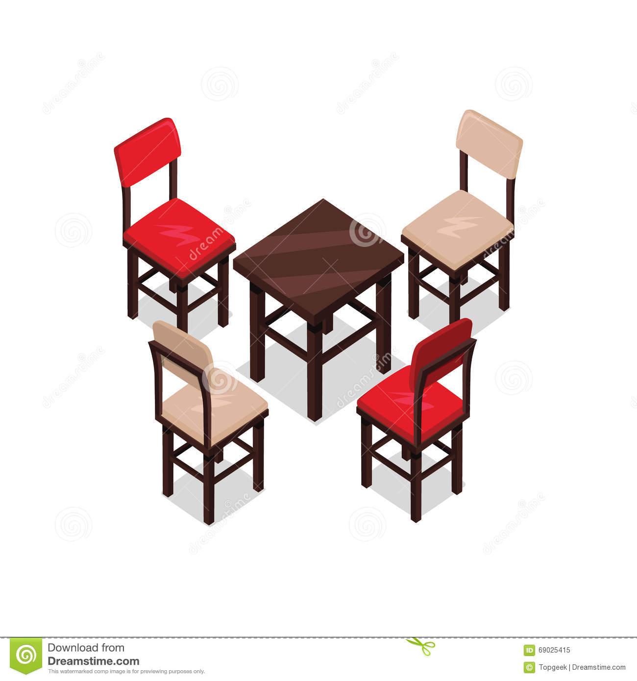 office chair illustration under table revit and isometric design stock vector image