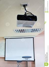 Chair Of The Teacher And LCD Projector In The Classroom ...