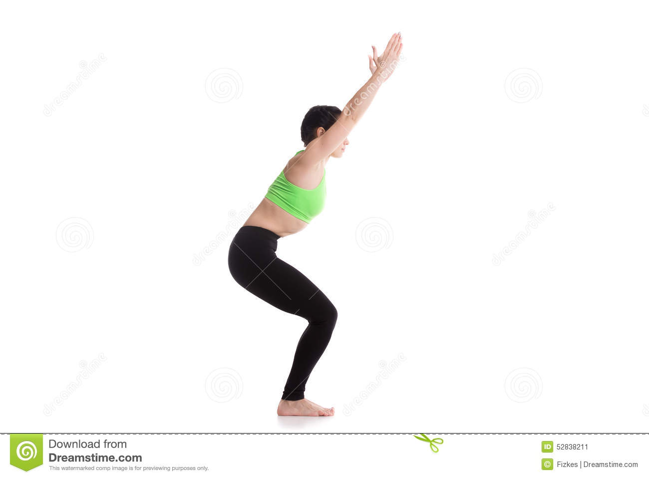 yoga chair pose cloth covers for weddings stock image of athlete