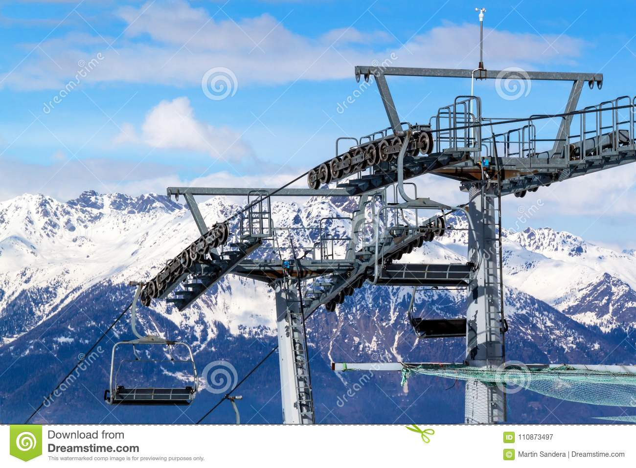 Chairlift In The Italian Alps Chair Lift In Snowy