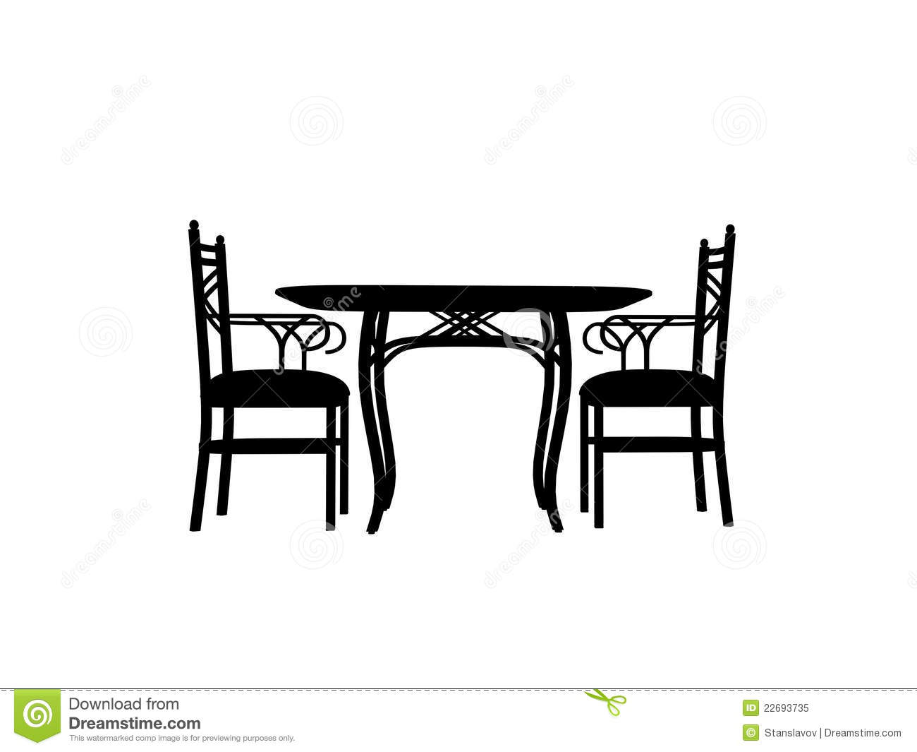 Chairs Table Silhouette Outline Royalty Free Stock Photo