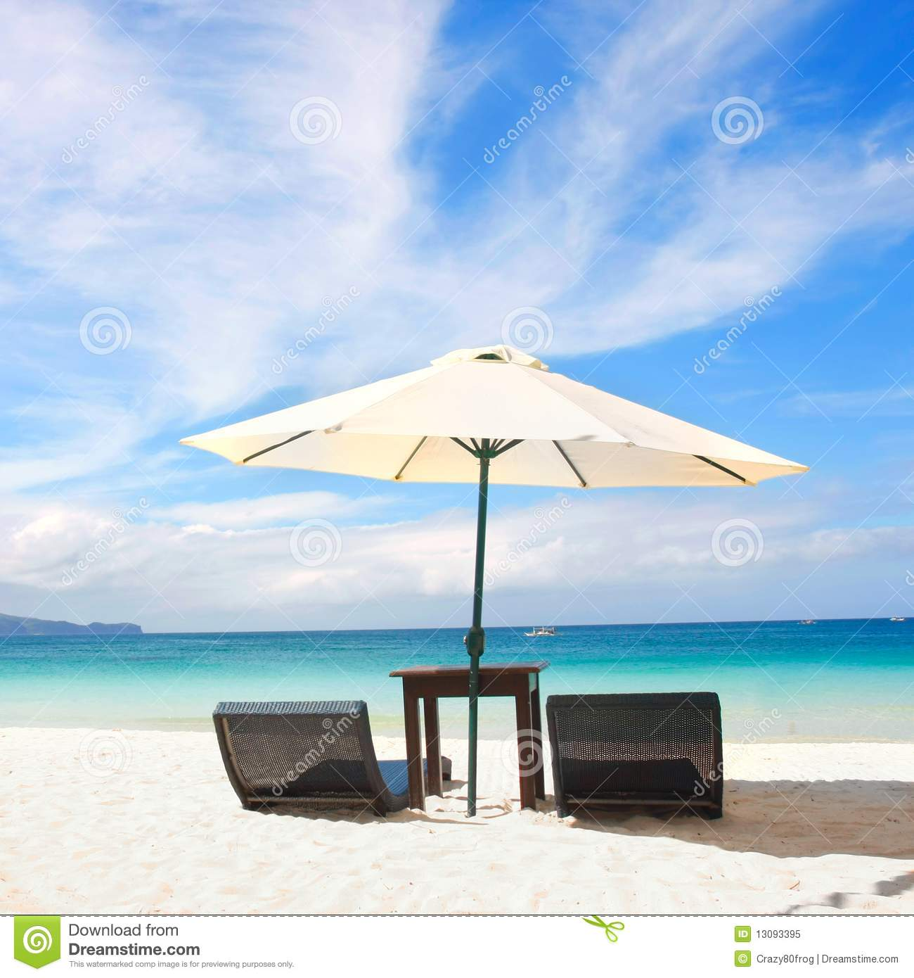 Beach Chairs With Umbrella Chairs And Umbrella On Beach Stock Image Image Of Coastline