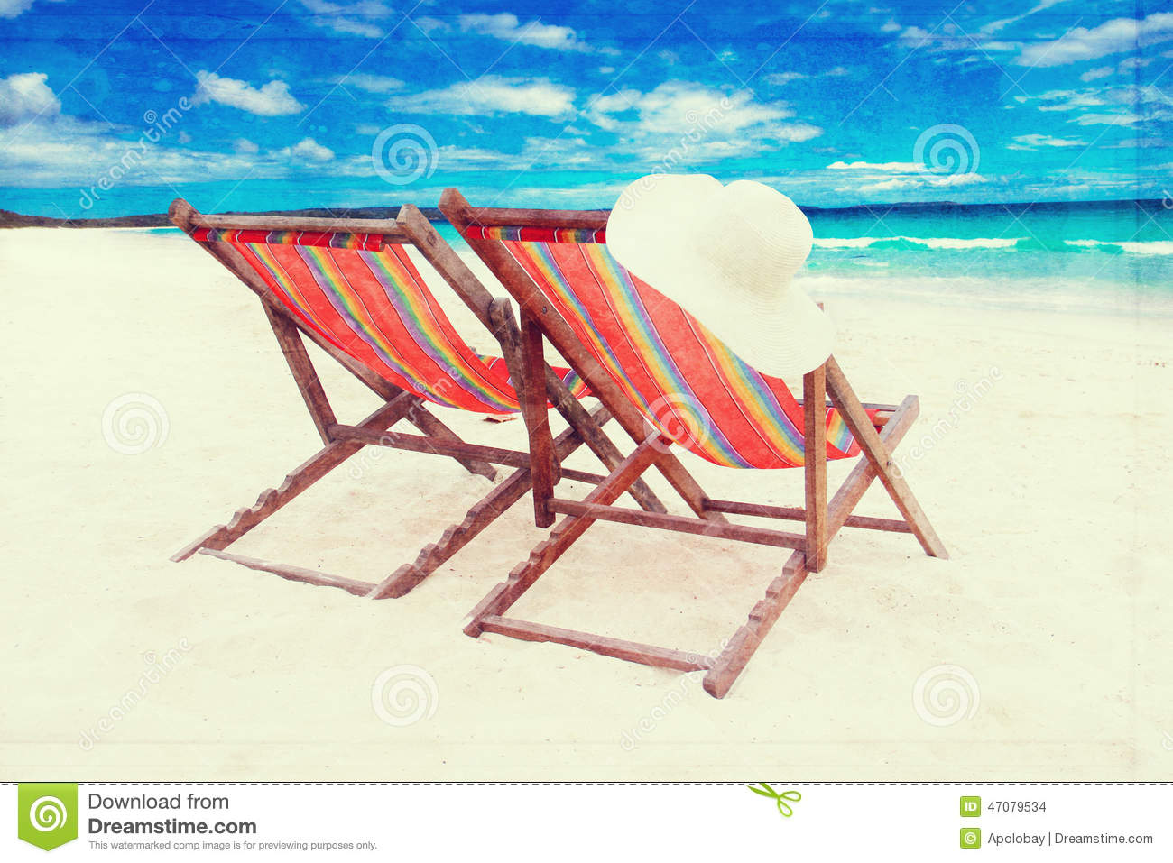 vintage beach chairs mima high chair on the white sand retro style effect