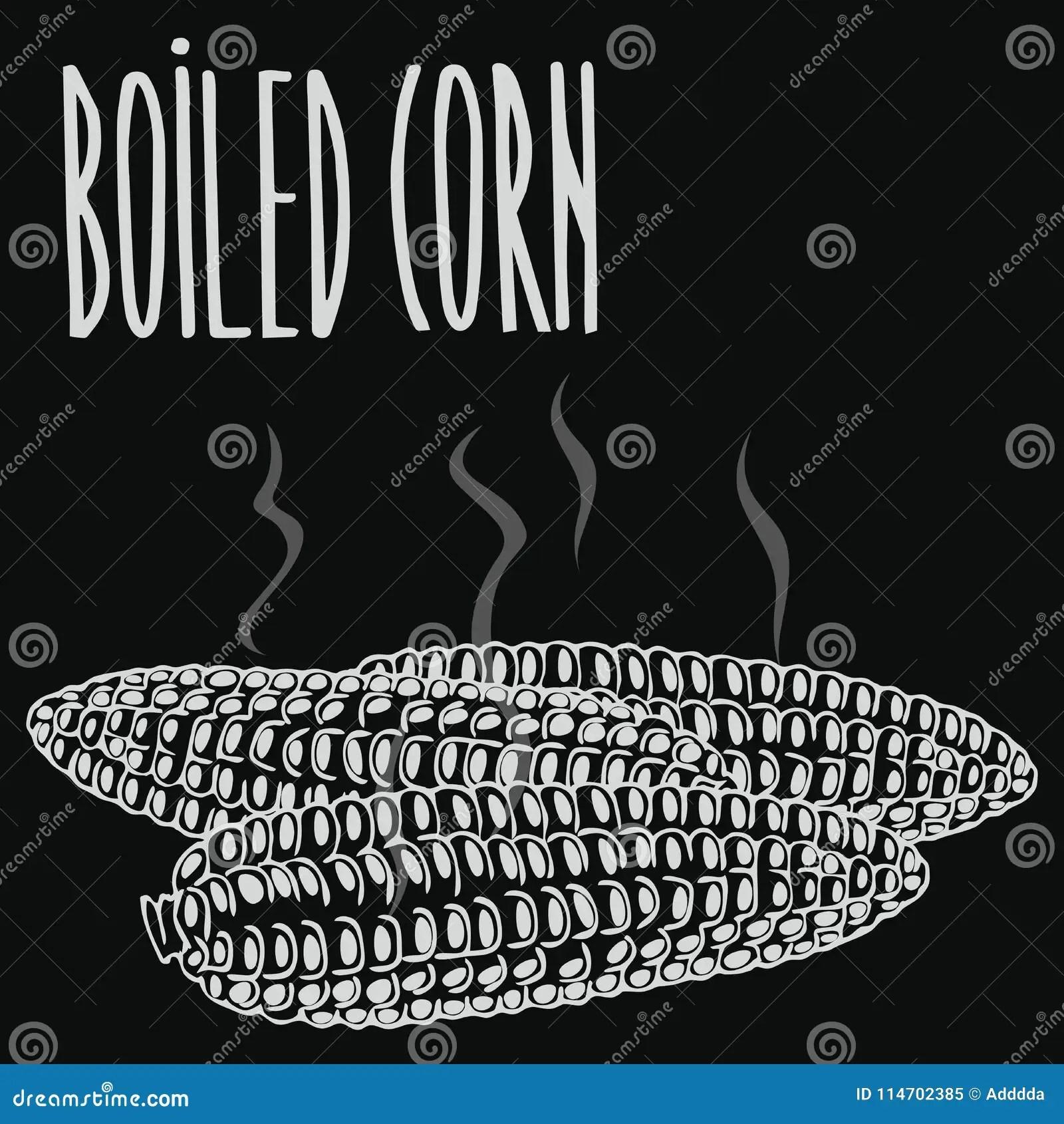 hight resolution of chalkboard boiled steamed corn ears