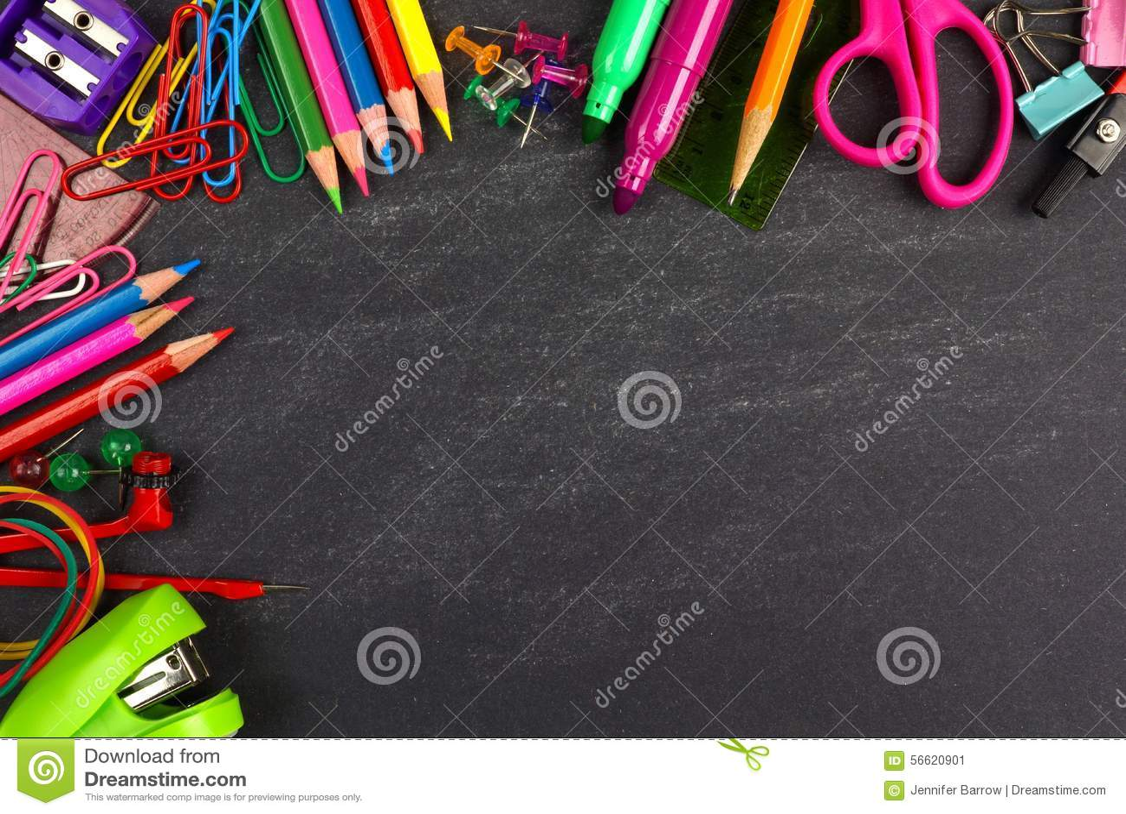 Chalkboard With School Supplies Corner Border Stock Photo