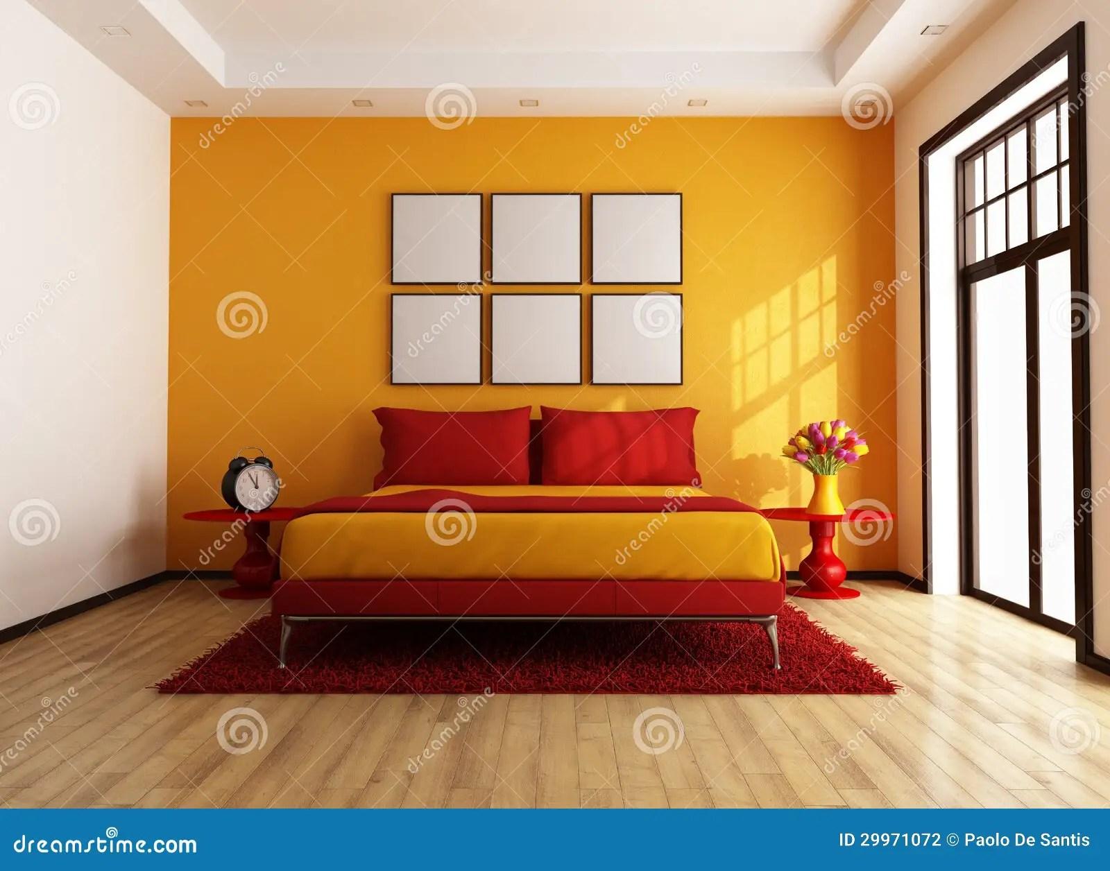 Chambre  coucher contemporaine rouge et orange