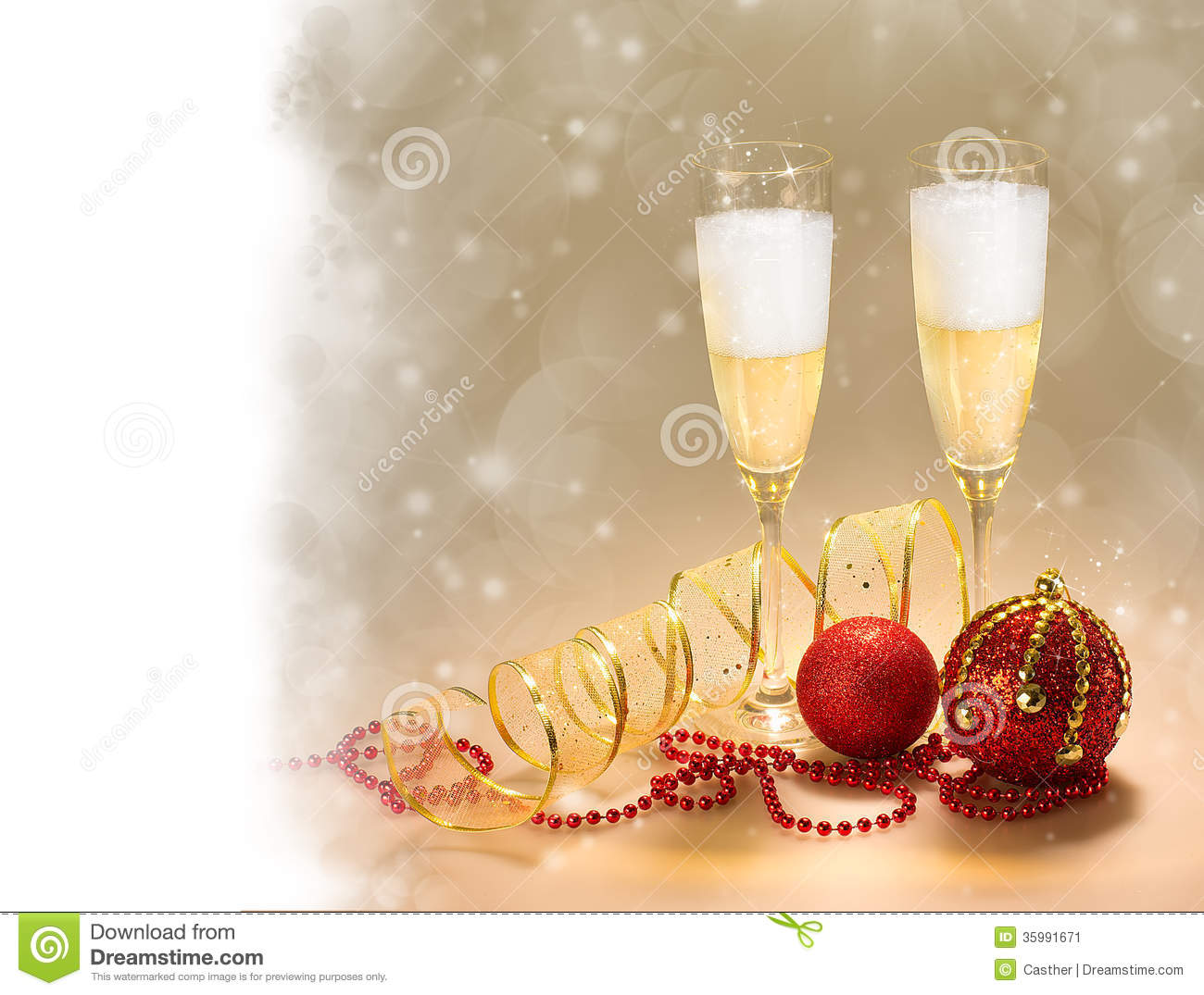 Champagne Glasses New Year And Christmas Celebrations