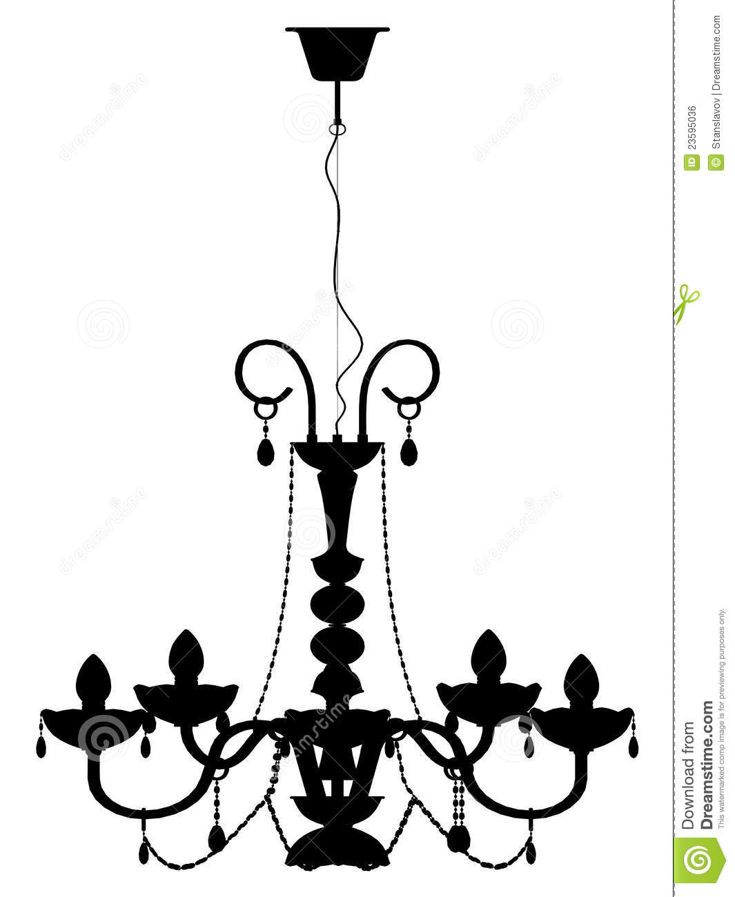 Chandelier Lamp Outline Silhouette Stock Photo