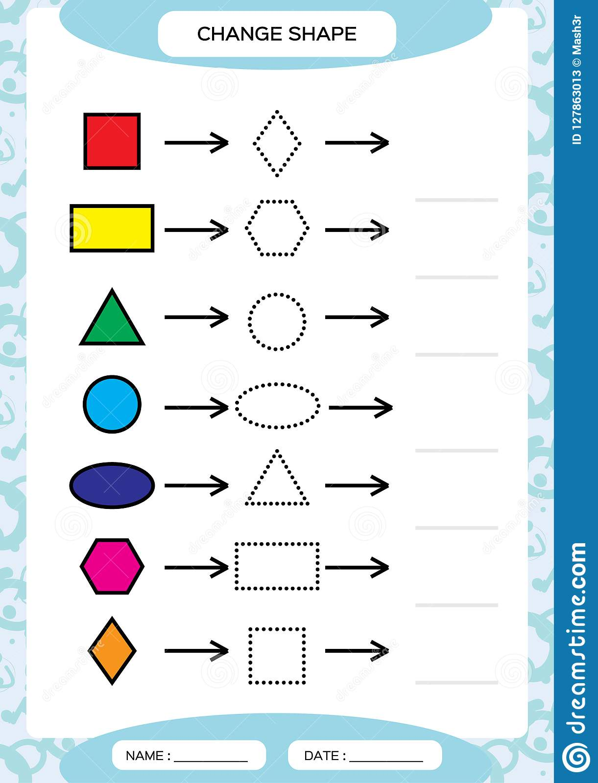 Change Color Colorful Shapes Learning Basic Shapes Color Trace And Draw Worksheet For