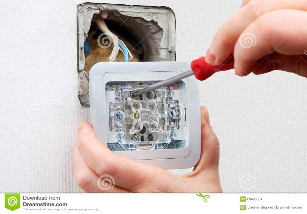 medium resolution of changing room light switch installation with a screwdriver close up