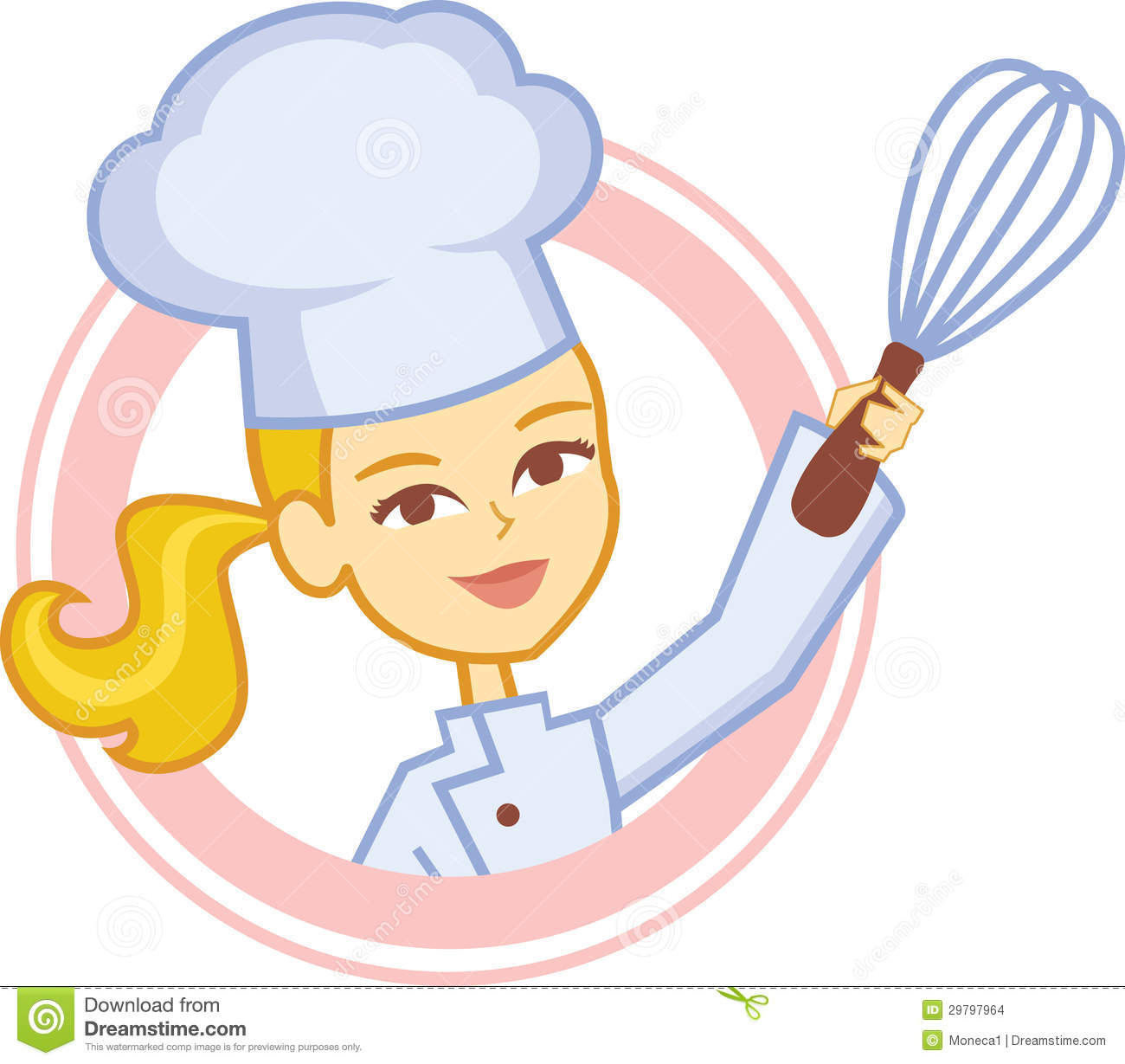 hight resolution of bakery culinary girl chef cartoon in logo style