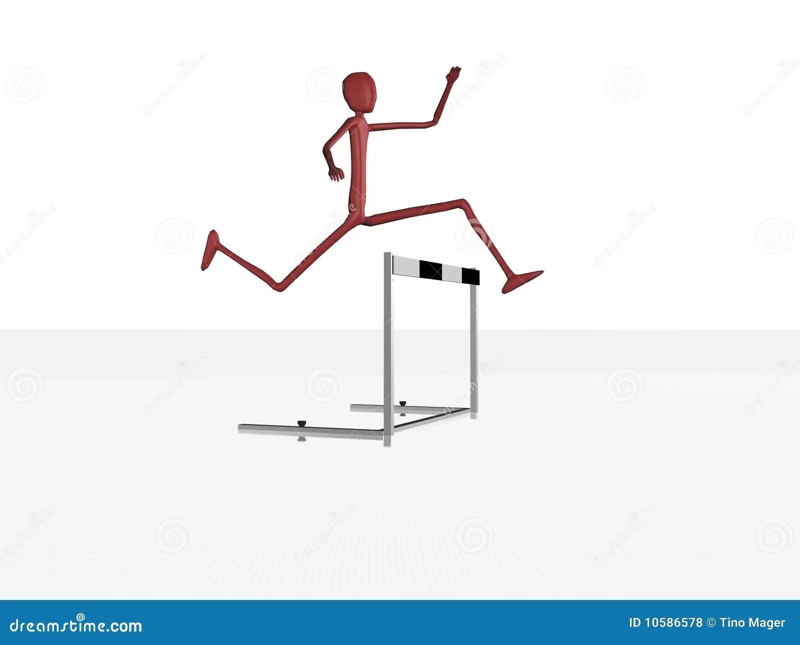 Character Jumps The Hurdle Royalty Free Stock Photos