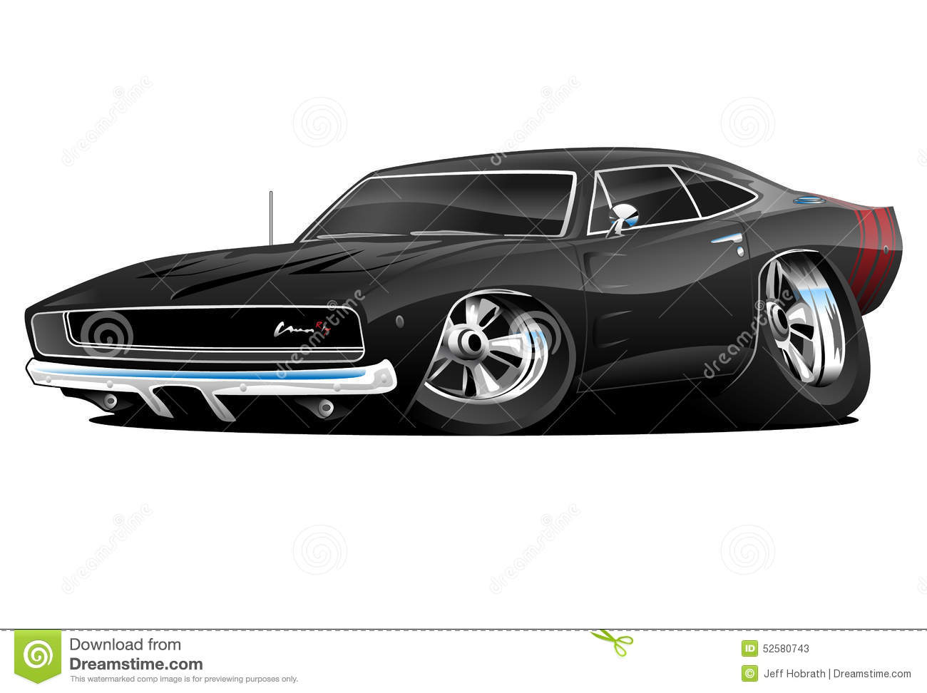 American Classic Muscle Car Cartoon Stock Illustration