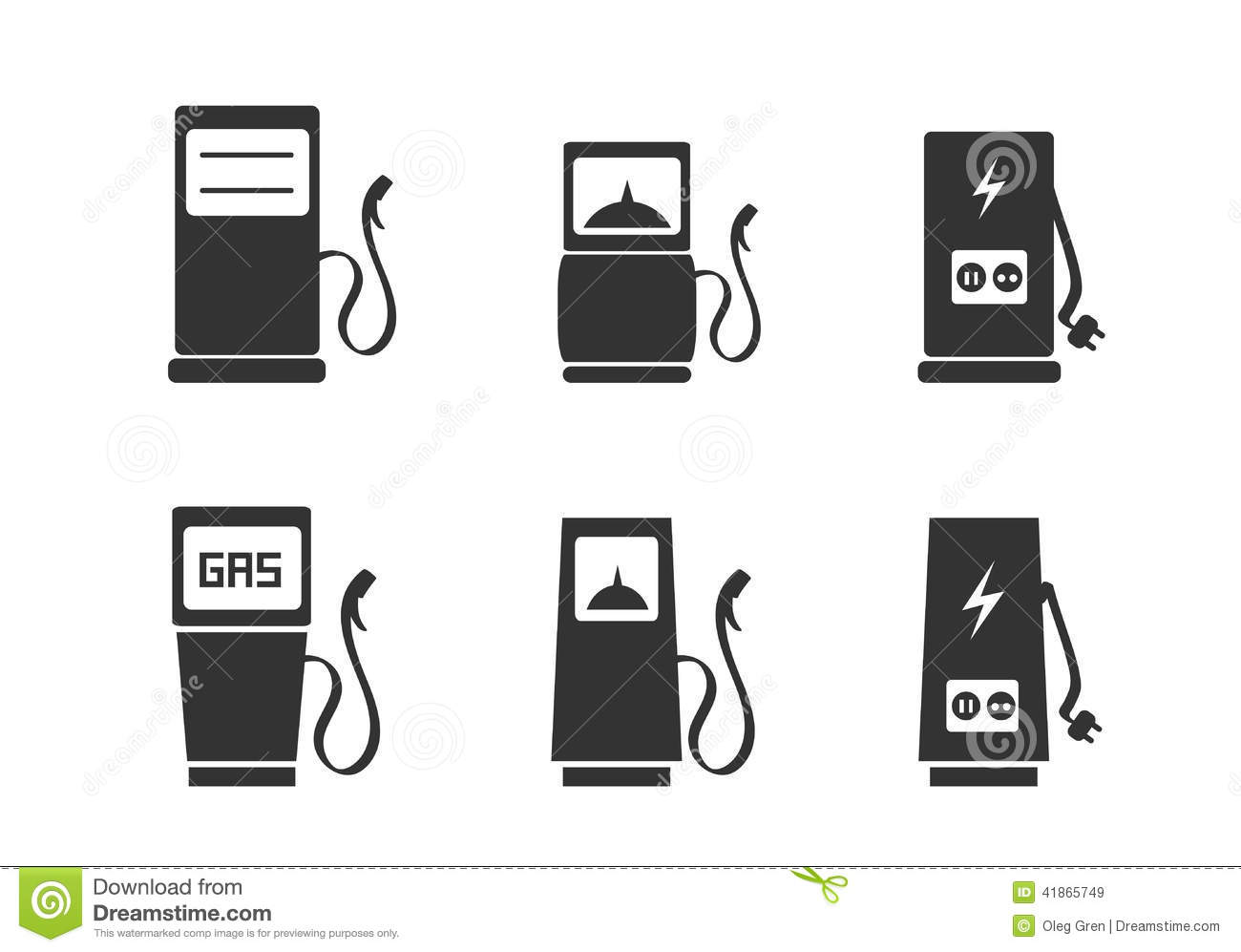 Charging Station Icons Set Stock Vector