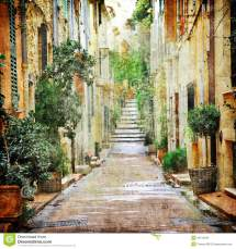 Charming Streets Of Mediterranian Stock