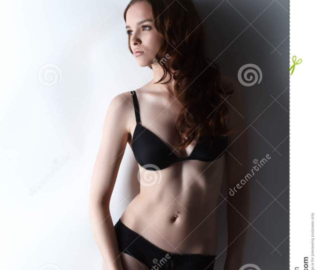 Charming Teen Girl Posing In Black Underclothes