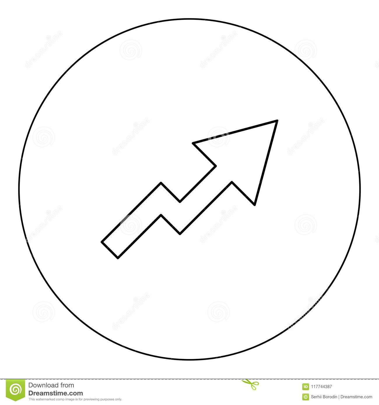 Chart Of Growth Icon Black Color In Circle Vector